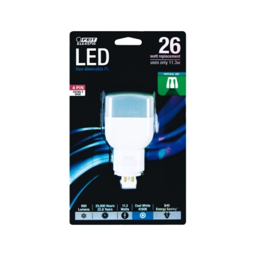 FEIT Electric LED Bulb 11.3 watts 800 lumens Linear PL 4.4 in. Cool White 1 pk(PL26E/V/841/LED)