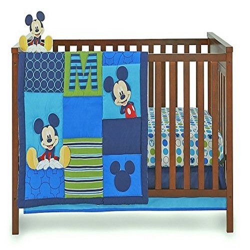 Crown Crafts Disney Baby Infant Boy's 4-Piece Mickey Mouse Crib Bedding Set