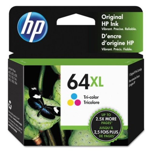 HP 64XL Tri-Color High Yield Original Ink Cartridge, 415 Page-Yield (N9J91AN#140)