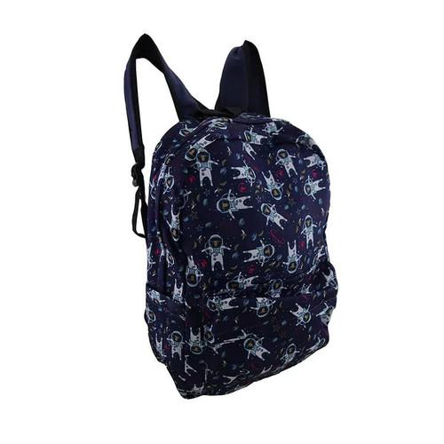 Blue Monkeys in Space Printed Fabric Backpack