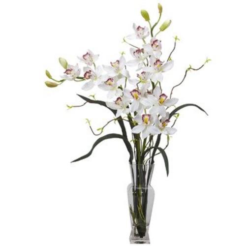 Nearly Natural Cymbidium Silk Flower Arrangement in White