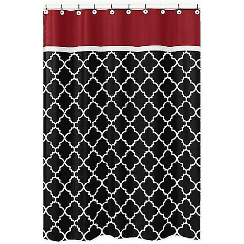 Sweet Jojo Designs Trellis Shower Curtain in Red/Black