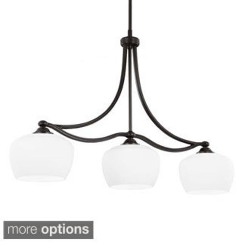 Z-Lite Riviera Matte Black 3-light Island/Billiard Dome White Linen -finished Light