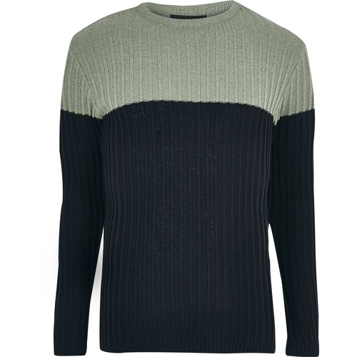 Light green ribbed knit color block sweater