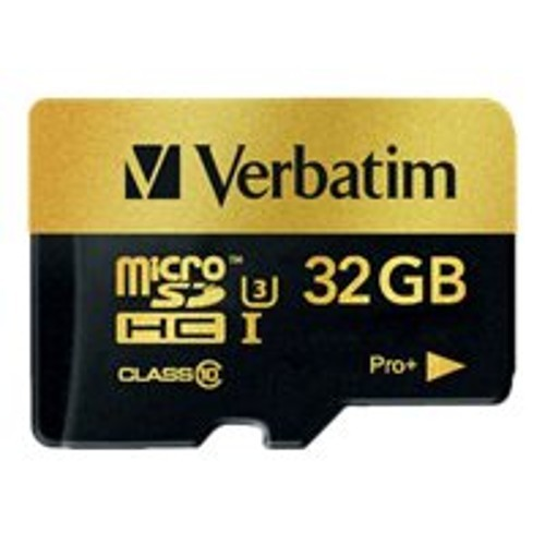 Verbatim PRO+ - Flash memory card (microSDHC to SD adapter included) - 32 GB - UHS Class 3 / Class10 - microSDHC UHS-I (44033)