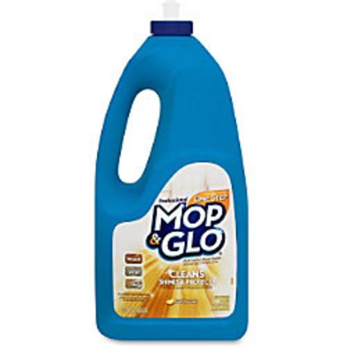 Professional Lysol One Step Mop/Glo Cleaner - 64 oz (4 lb) - Lemon Scent - 6 / Carton - Tan