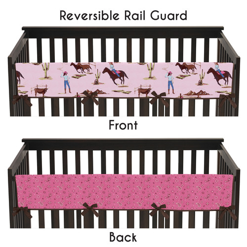 Sweet Jojo Designs Long Crib Rail Guard Cover for Cowgirl Collection by