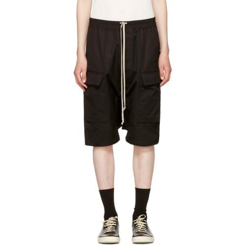 RICK OWENS Black Cargo Pods Shorts