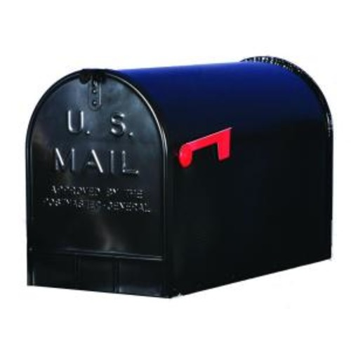 Gibraltar Mailboxes Jumbo Galvanized Steel Post-Mount Mailbox, Black
