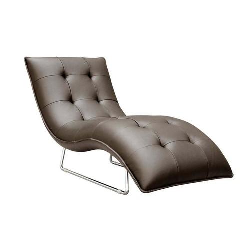 Selina Chocolate Leather Chaise Lounge