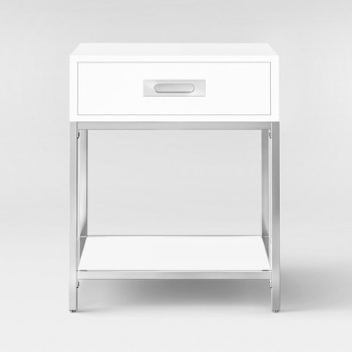 Ronchamp Side Table Chrome/White - Project 62