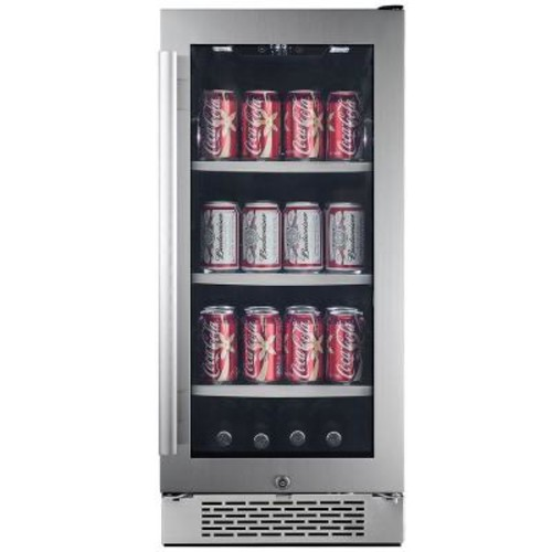 Avallon 86 Can 15 in. Built-in Beverage Cooler in Black and Stainless Steel