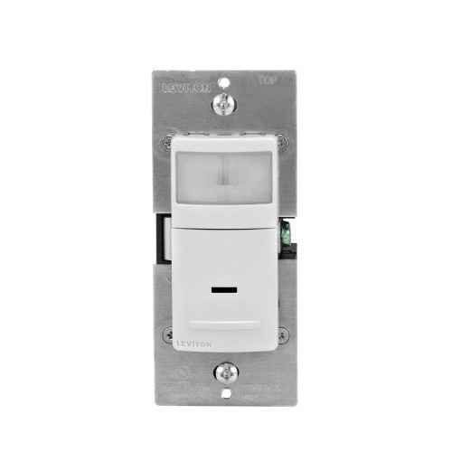Leviton IPS02-1LW 300-Watt Incandescent, 150-Watt LED/CFL Occupancy Sensor (Auto ON/Auto OFF), Single Pole, White
