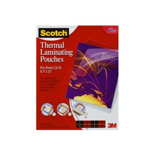 Scotch Front and Back Thermal Laminating Pouches - Letter Size - Sheet Size Supported: Letter 8.50
