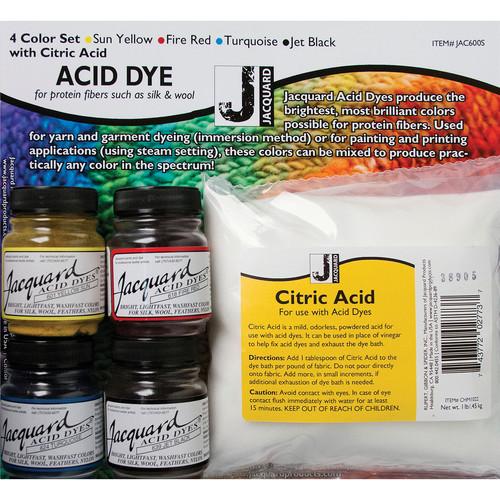 Jacquard Acid Dye Set-Yellow, Turquoise, Red & Black