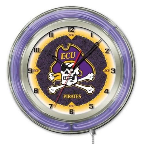 Holland Bar Stool NCAA 19'' Neon Clock; East Carolina Pirates