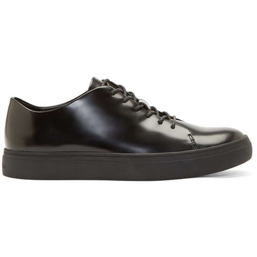Black Leather Yngve Low-Top Sneakers