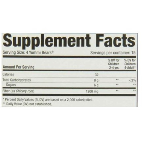 Yummi Bears Fiber Supplement Gummy Vitamin for Kids, 60 Count Gummy Bears [Fiber, 60 Count]