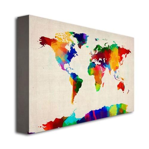 Trademark Global Michael Tompsett 'Sponge Painting World Map' Canvas Art [Overall Dimensions : 30x47]