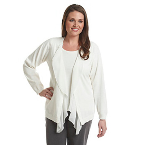 AGB Plus Size Open Front Cardigan With Chiffon Trim Detail