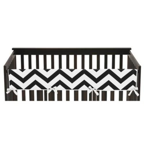 Sweet Jojo Designs Chevron Long Crib Rail Guard Cover in Black/White