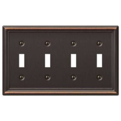 Hampton Bay Chelsea 4 Toggle Wall Plate - Aged Bronze