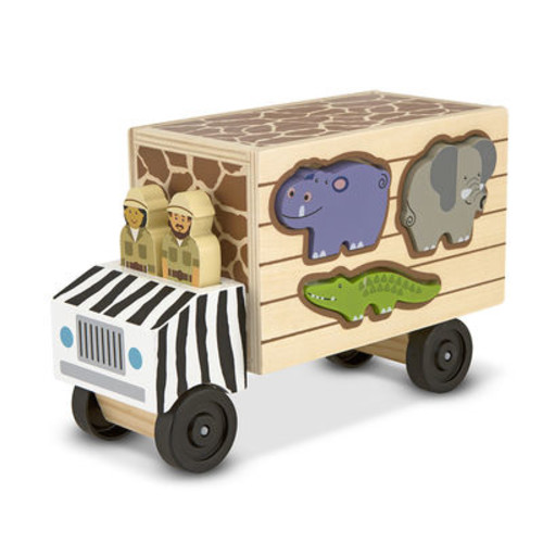 Melissa & Doug Animal Rescue Shape-Sorting Truck Wooden Toy