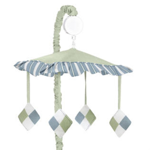 Sweet Jojo Designs Blue and Green Argyle Collection Musical Mobile