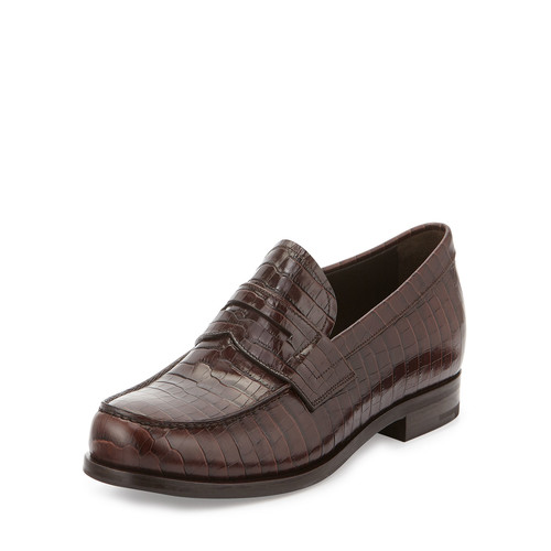 Saffiano Leather Penny Loafer, Brown