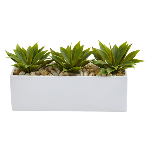 Nearly Natural Agave Succulent in Rectangular Planter Silk Plant