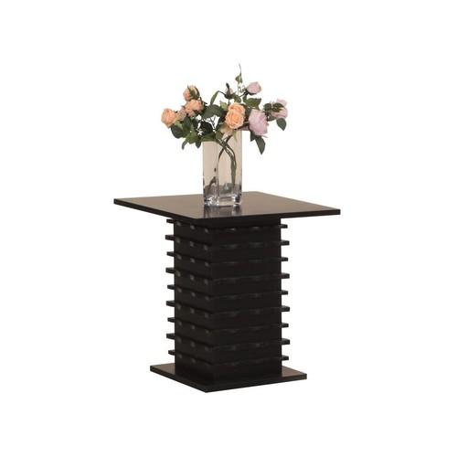 Pilaster Designs - Wood Wave Design End Table, Black Finish