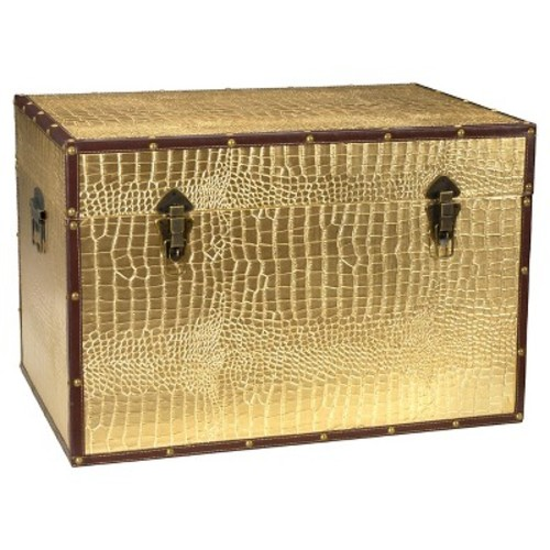 Faux Leather Gold Crocodile Trunk - Oriental Furniture