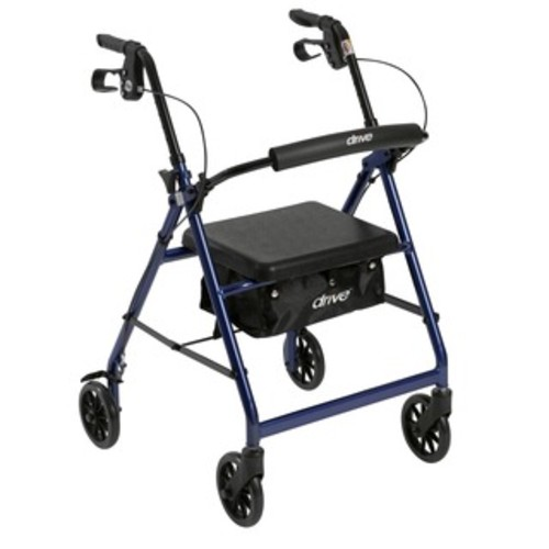 Drive Medical Aluminum Rollator Rolling Walker with Fold Up and Removable Back Support and Padded Seat