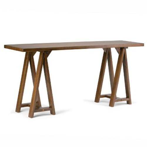 Sawhorse Wide Console Sofa Table - Medium Saddle Brown Finish - Simpli Home