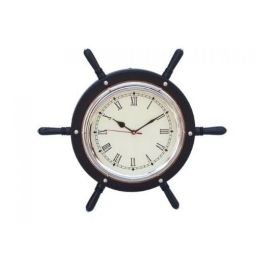 Handcrafted Nautical Decor 15'' Wooden Ship Wheel Wall Clock; Black
