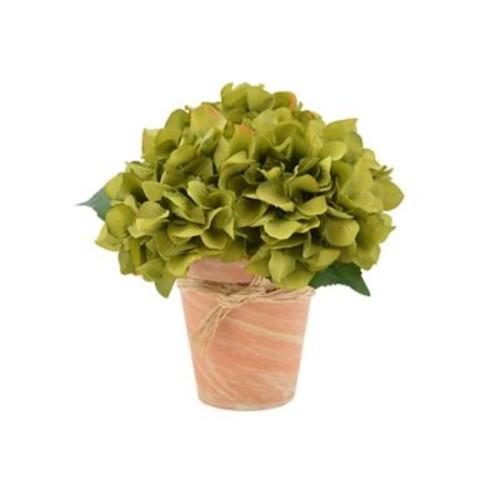 August Grove Hydrangea Bouquet Flower Floral Arrangement in Pot; Green