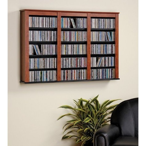 Floating Wall Triple Media Storage-cherry Finish