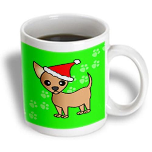 3dRose - Janna Salak Designs Dogs - Cute Chihuahua Green with Santa Hat - 11 oz mug