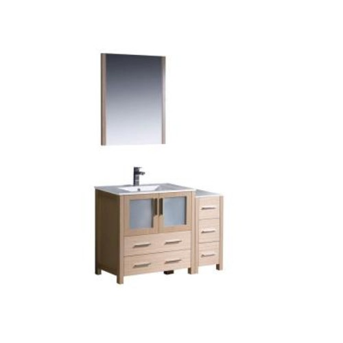 Fresca Torino 42 in. Vanity in Light Oak with Ceramic Vanity Top in White with White Basin and Mirror