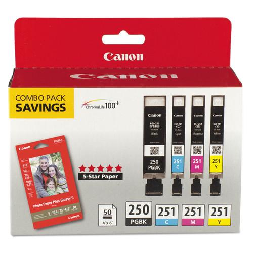 Canon CNM6497B004 6497B004 (PGI-250; CLI-251) Ink & Paper Combo Pack, Black/Cyan/Magenta/Yellow
