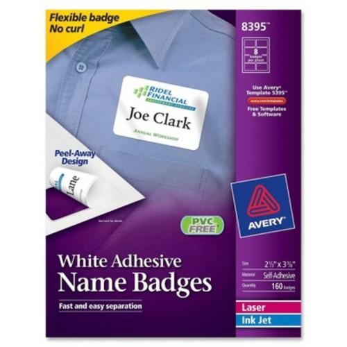 Avery Adhesive Name Badge Laser & Inkjet Oval 3.33 in. x 2 in. White, 160/Pack