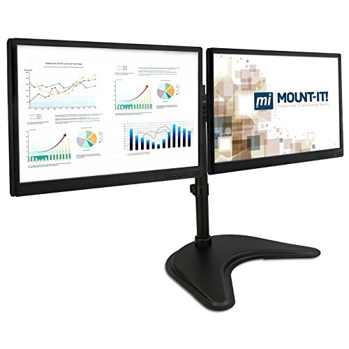 Mount-It! Dual Monitor Desk Stand LCD Mount, Adjustable, Free Standing Two Computer LED Displays Stand 20, 23, 24, 27 Inch Screen Sizes, Black (MI-1781)
