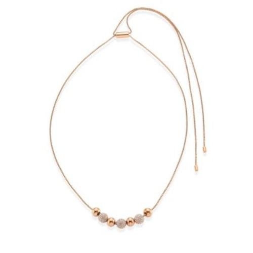 Brilliance Pav Beaded Necklace/Goldtone