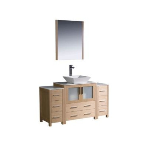 Fresca Torino 54 in. Vanity in Light Oak with Glass Stone Vanity Top in White with White Basin and Mirror