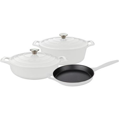 La Cuisine LC 2780MB 5 Piece Pro Enameled Cast Iron Oval Casserole Cookware Set, White