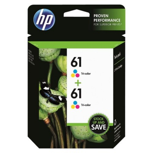 HP 61 Tri-Color Ink Cartridge Twin Pack - Multicolor (CZ074FN#140)