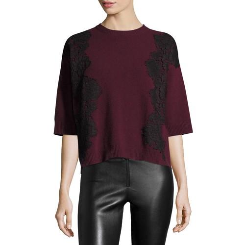 VALENTINO 3/4-Sleeve Boxy Lace-Trim Sweater, Red/Black