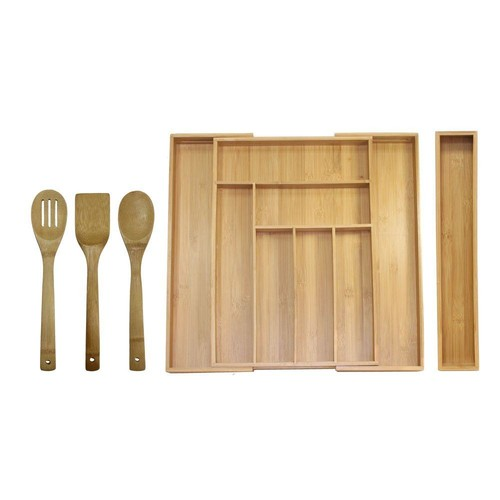 Oceanstar 18 in. x 12.75 in. x 2 in. Bamboo Expandable Drawer Utensil Organizer Set (5-Piece)