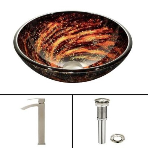 VIGO Glass Vessel Sink in Northern Lights and Duris Faucet Set in Brushed Nickel