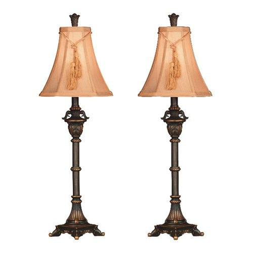 Kenroy Home Rowan 31 in. Metallic Bronze Buffet Lamp Set (2-Pack)